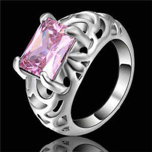 Pink Zircon White GF Size 6 Ladies Ring